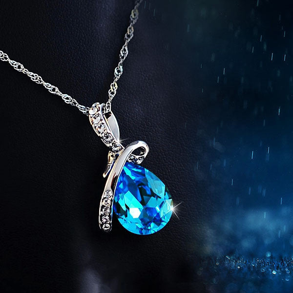 Blue Crystal Water Drop Pendant Necklace