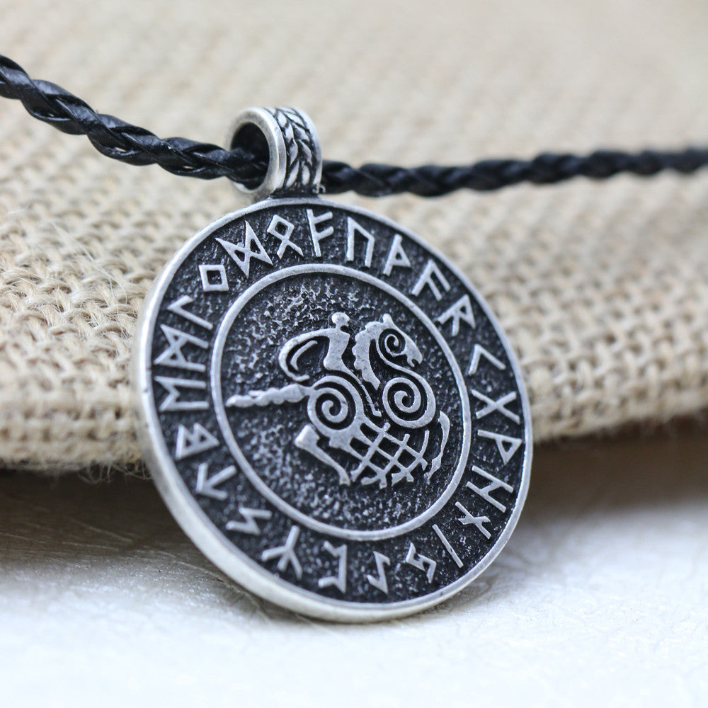 Nordic Viking Sleipnir And Solider Talisman Amulet Necklace