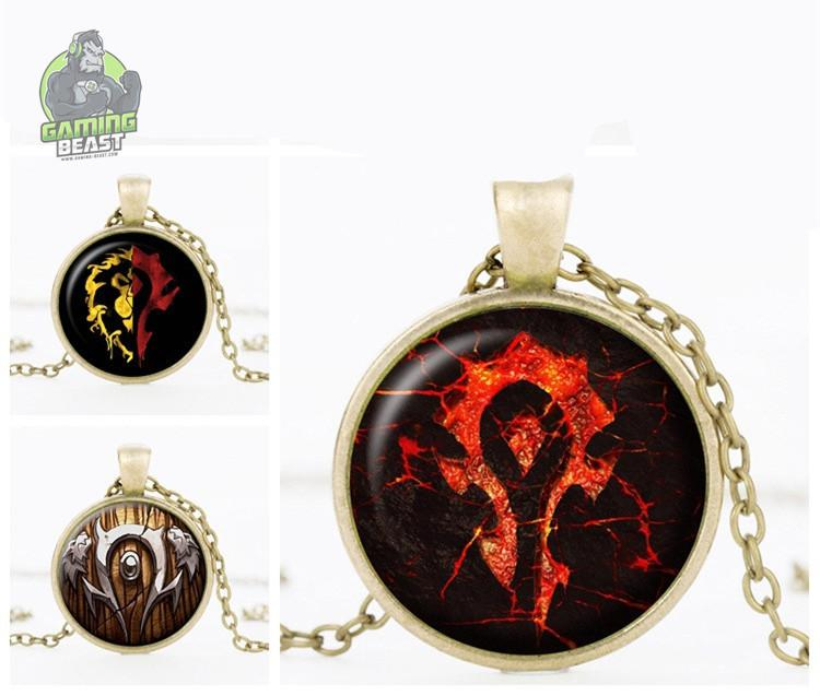 World of Warcraft Horde Sign Time Gemstone Necklace