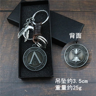 Assassin's Creed Odyssey keychain ring leather rope car key chain waist buckle metal pendant gift men and women