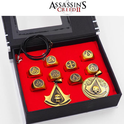 Assassin's Creed Rings Pendants 10pcs/set Metal Figures Model Toys