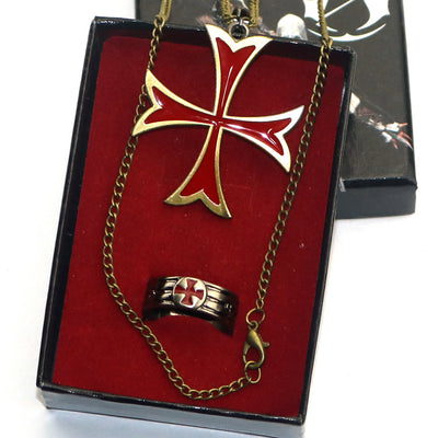Assassin's Creed Templar Rebel Swallowtail Cross Necklace Ring Pendant Set
