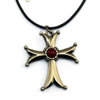 Limited Edition Assassin's Creed Cross Pendant Necklace Badge Brooch 19MM Ring Jewelry Set