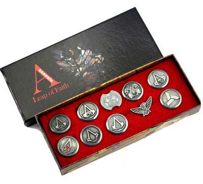 Limited Edition Assassin's Creed Origins Alloy Badge Brooch Set (10 Pieces)