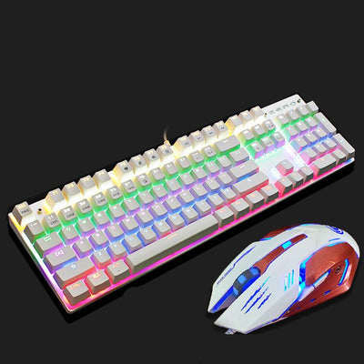 Computer Gaming Metal Mechanical waterproof Keyboard Mouse Set