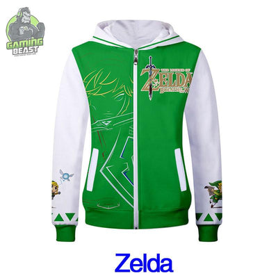 Legend of Zelda Fashion Personality Printed Zipper Hoodie