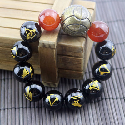 Limited Edition Assassin's Creed Origins Crystal Red Black Onyx Fashion Beaded Bracelet