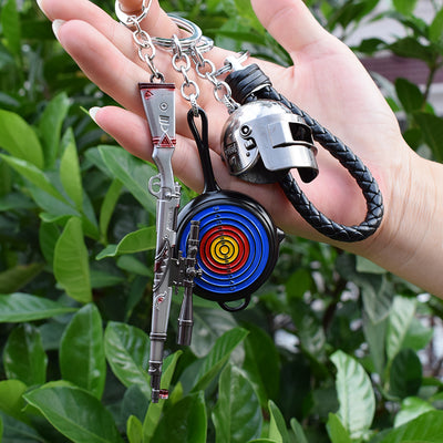 PLAYERUNKNOWN'S BATTLEGROUNDS Three-level Helmet Pan Rifle Alloy Three-piece Key Ring Pendant