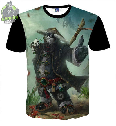 World of Warcraft Panda Man Printing Cotton T-shirt
