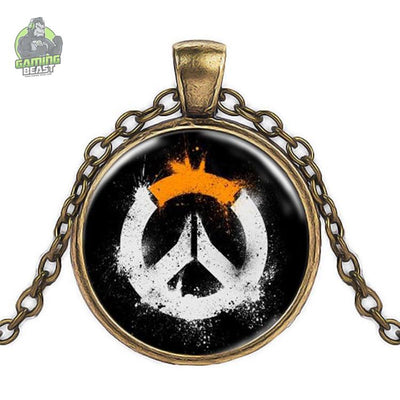 Overwatch Sign Glass Gemstone Necklace