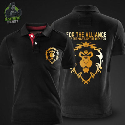 World of Warcraft Hegemony Tribal Alliance Sign Polo T-shirt