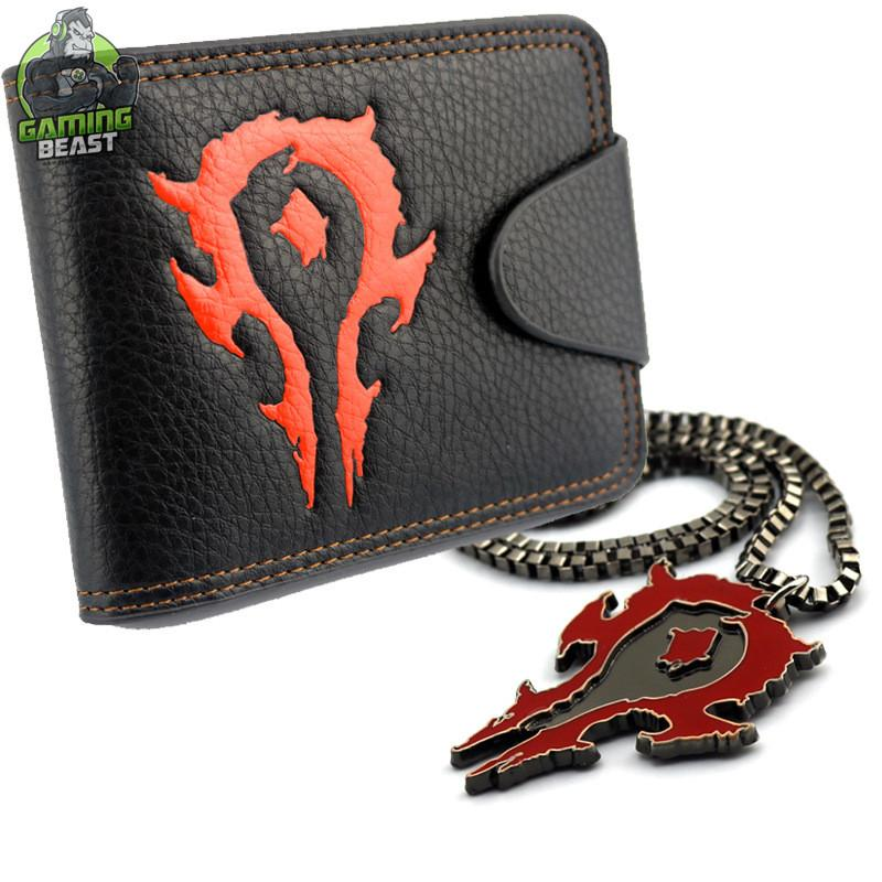 Limited Edition World of Warcraft Leather Wallet and Necklace