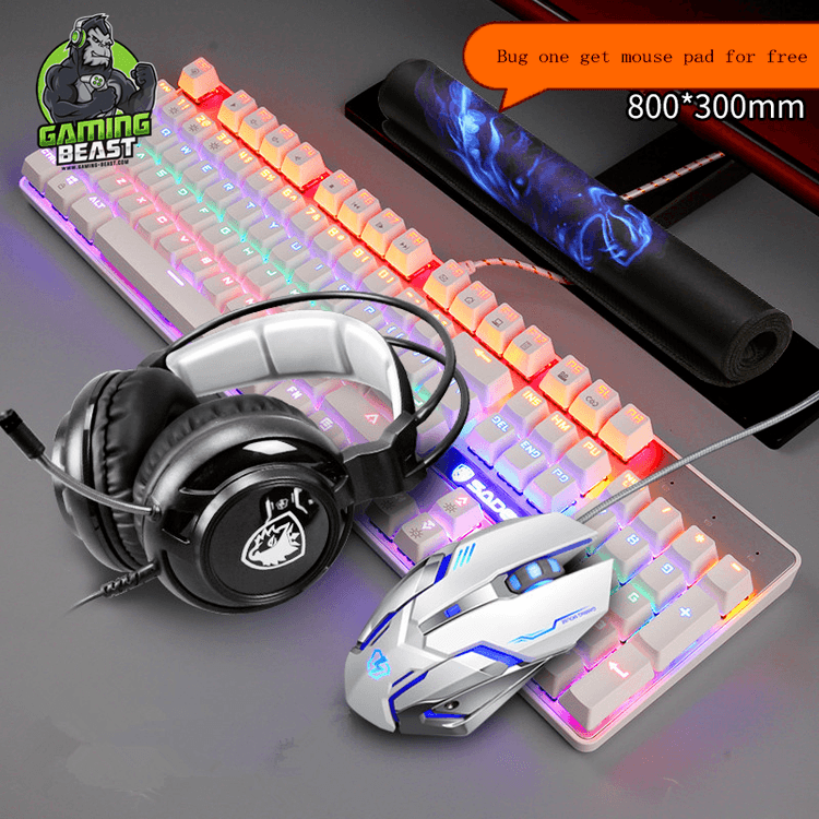 Limited Edition Computer Game Mechanical Keyboard Mouse Headset Sets