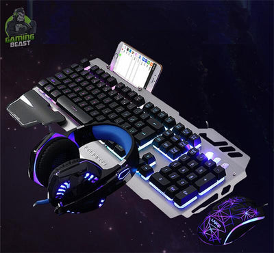 Computer Gaming Metal Mechanical Shine Keyboard Mouse Headset Set