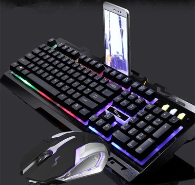 Metal Mechanical Computer Gaming Keyboard Mouse Set