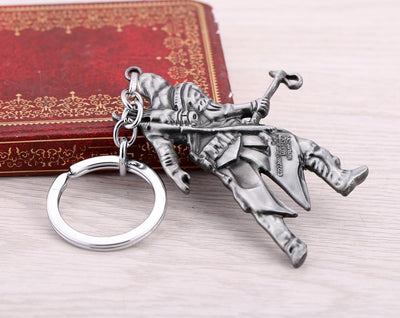 Assassins Creed Figure Keychain Silver Metal Key Rings Key chain Cool porte clef Jewelry for Men Gift