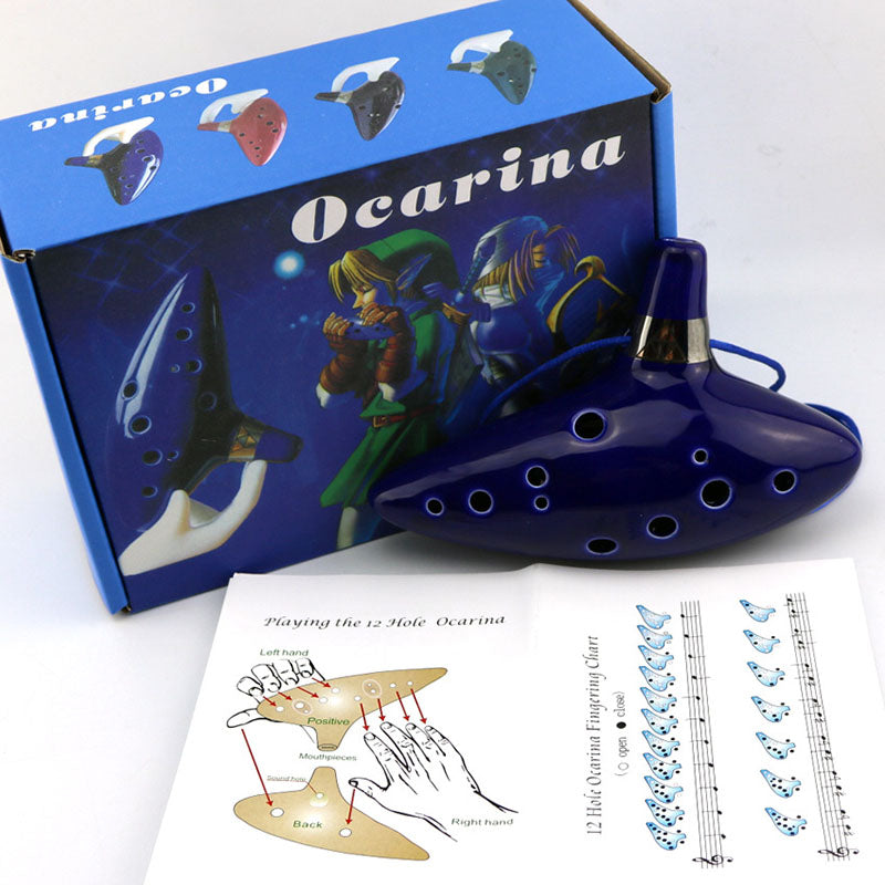 Blue 12 Holes Ocarina Kiln-fired Ceramic Alto C Legend of Zelda Flute Ocarina of Time Woodwind Instruments figure toys