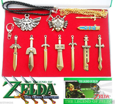 10 Pcs The Legend of Zelda Shield Sword Weapon Keychain Necklace Pendant  Weapons + Box