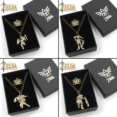Game The Legend of Zelda Metal Link Pendants Necklace+Rings+Box Otaku Animation Decor Ornament Gifts Costume Cosplay Accessories