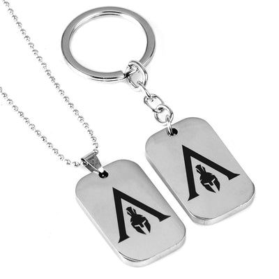 Game Assassins Creed Odyssey Key Chains necklace stainless steel Silver colour Fashion creative trendy party porte clefs llavero