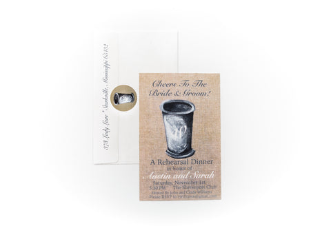 Burlap Mint Julep Cup Invitations || Southern Cocktail Party Inspired Invitations - Old Southern Charm