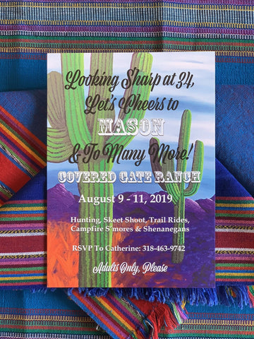 Cactus Themed Party Invitations || Mexican Fiesta Inspired Invitations || Desert Inspired Invitations - Old Southern Charm