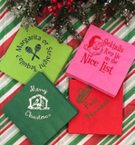 Hot Pink Vintage Santa Cocktail Napkins. Christmas Paper Napkins with Funny Sayings. Holiday Humor. Gift Under 20. Custom Cocktail Napkin.