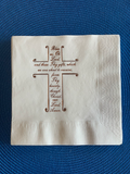Cross Themed Beverage Size Napkins. Bless Us Oh Lord Prayer. Religious Themed Gift. Christian Gift. Baptism Luncheon Napkins. Christening.