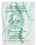 Green Leaf Wreath Invitation || Foliage Theme Party Invitations - Old Southern Charm
