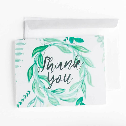 Green Leaf Wreath Stationery || Foliage Themed Thank You Notes - Old Southern Charm