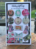 Personalized Holiday Hearth Large Round Gift Tag Stickers || Christmas Fireplace Scene With Stockings