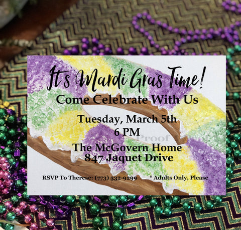 Mardi Gras King Cake Invitation || Mardi Gras Celebration Invitations - Old Southern Charm