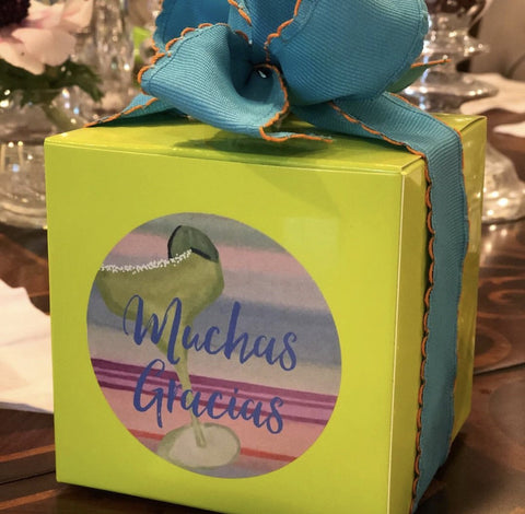Margarita Toast Favor Box || Muchas Gracias Stickers || Mexican Fiesta Inspired Party Favor Box