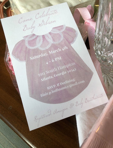 Baby Girl Gown Invitations || Baby Girl Shower Invitations - Old Southern Charm