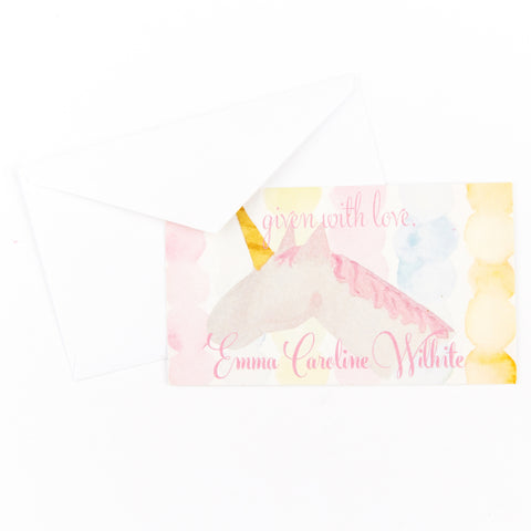 Gift Tag / Enclosure Card with Envelope - Magical Pink Unicorn - Old Southern Charm