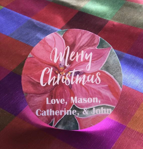 Christmas Poinsettia Gift Tag Stickers || Custom Santa Stickers