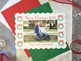 Holiday Green Leaf Wreath Diecut Edge Horizontal Photo Card || Classic Watercolor Christmas Photo Card || Traditional Design With Wreaths and Striped Bows