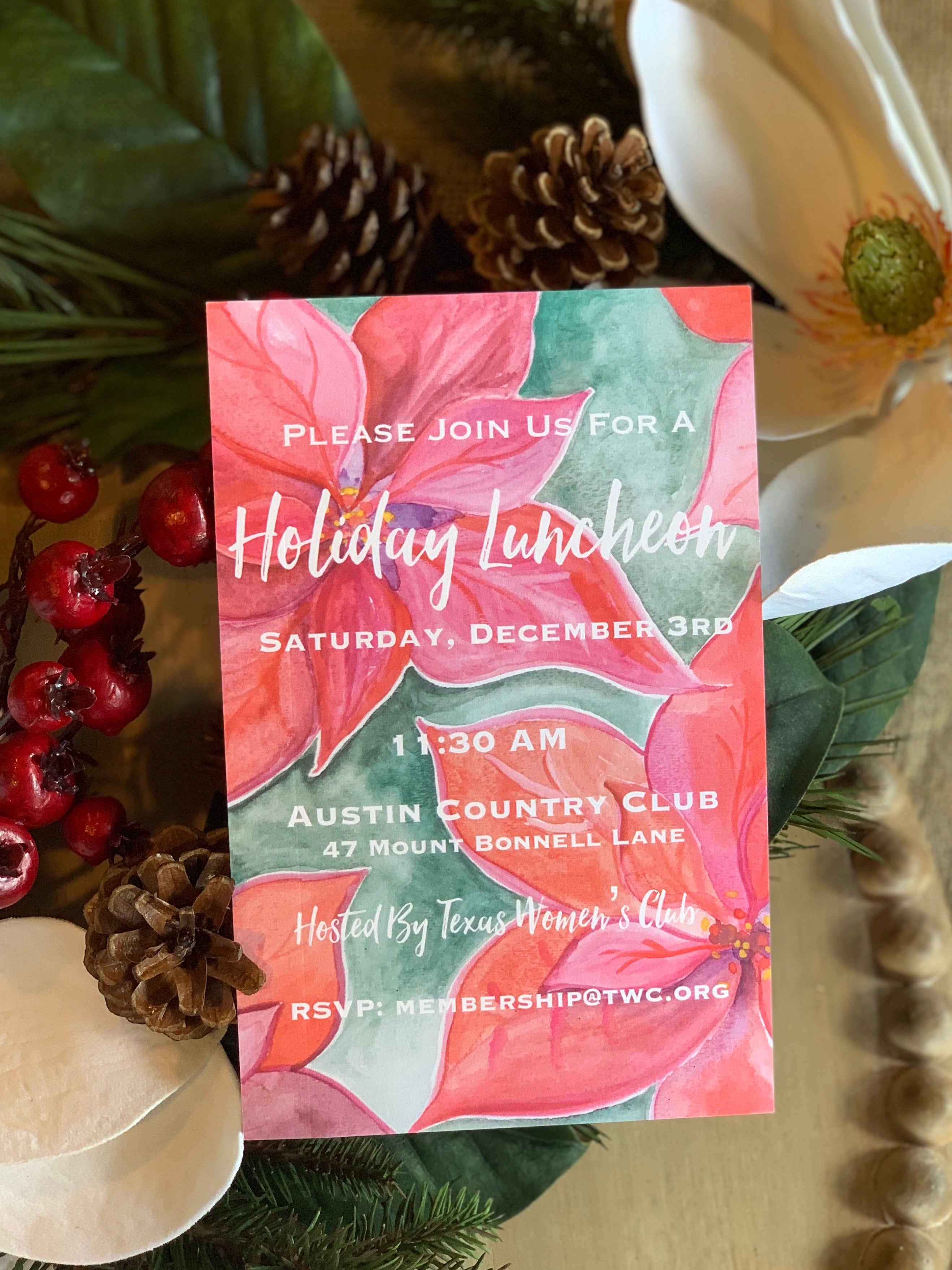 Christmas Poinsettia Invitation - Old Southern Charm
