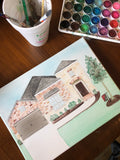 Custom Watercolor Home Portrait || House Paintings on Canvas || Original Southern Architecture Artwork