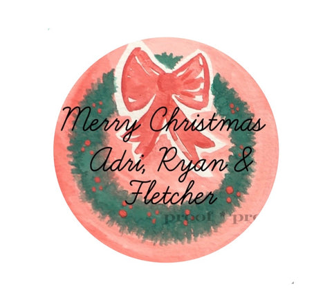 Christmas Wreath Large Gift Tag Sticker || Personalized Santa Stickers