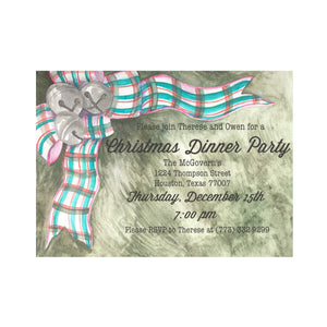 Plaid Jingle Bells Invitation - Old Southern Charm
