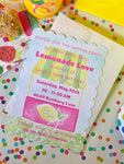 Lemonade Stand Party Invitations || Summer Party Invitations
