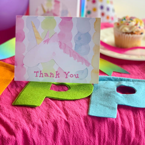 Unicorn Themed Stationery Notecards || Children's Birthday Thank You Notes - Old Southern Charm