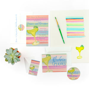 Margarita Themed Mexican Fiesta Party Invitations - Old Southern Charm