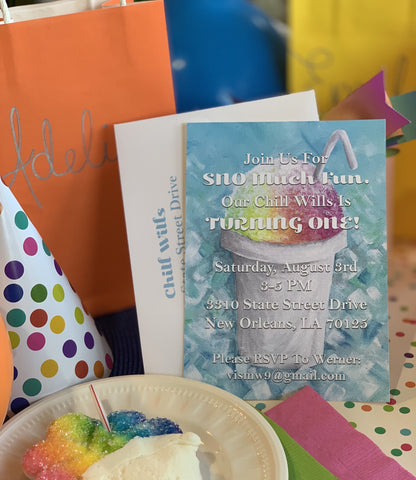 Snowcone Theme Party Invitations || Summer Shaved Ice Party || Children's Birthday || Louisiana Snowball