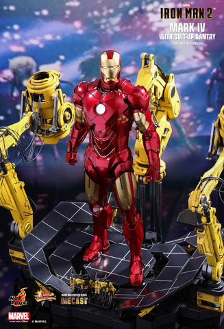 "Hot Toys ""Iron Man 2"" Mark IV Die-Cast with Suit-Up Gantry 1/6 Figure"