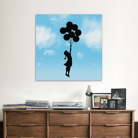 Balloon Girl Flying Blue