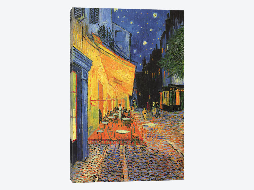"The Cafe Terrace on the Place du Forum Cafe Terrace at Night 1888 by Vincent van Gogh Canvas Print 18"" L x 26"" H x 0.75"" D - eWallArt"