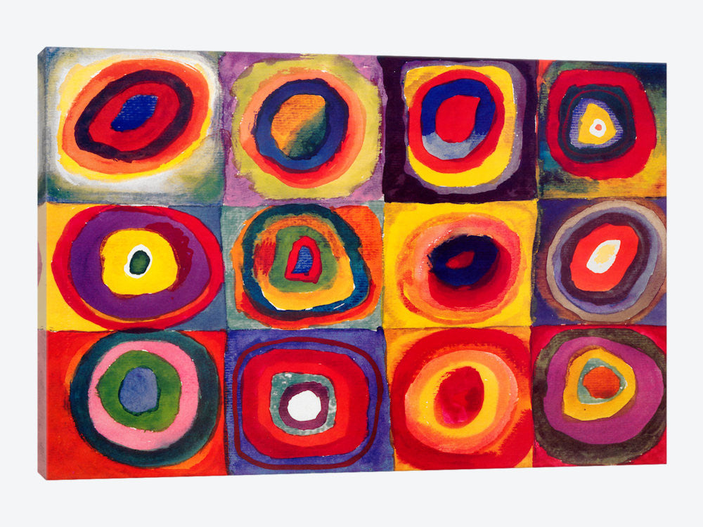 "Squares with Concentric Circles by Wassily Kandinsky Canvas Print 26"" L x 18"" H x 0.75"" D - eWallArt"