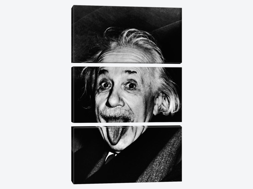 "Albert Einstein Sticking His Tongue Out by Arthur Sasse Canvas Print 40"" L x 60"" H x 0.75"" D - eWallArt"